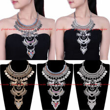 Vintage Ethnic Gold Silver Chain Chunky Choker Statement Pendant Bib Necklace