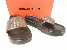 New Donald J Pliner Fifi15-84 Bronze Woven Leather Platform Wedge Thong Sandals