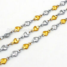 Women Girls Silver-Gold Love Heart 4MM 316L Stainless Steel Chain Necklace