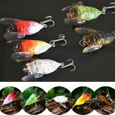 Plastic Popper Fishing Lures Bass CrankBaits Cicada Tackle Minnow 2 Hooks 5cm