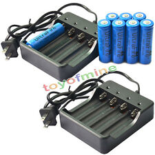 8pcs Rechargeable Battery for LED Light 18650 3.7V UF 3800mAh Li-ion+2x Charger