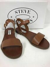 NEW STEVE MADDEN DONDDI TAN LEATHER UPPER SANDALS WITH BUCKLED ANKLE STRAP