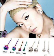 1 Pairs Hipster Round Anti-Allergy Titanium Steel Earrings Stud Free Shipping