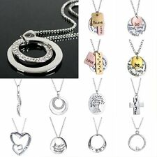Fahion Charm Jewelry Crystal Silver Reversible Long Chain Bid Pendant Necklace