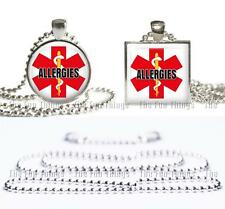 Allergies Medical Alert Necklace Glass Top Pendant Silver Bezel Setting & Chain