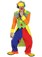 Adult Clown Costume La Circus Mens Fancy Dress Outfit Male Carnival Stag Jester