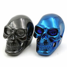 MENS BOYS Huge Heavy Metallic Blue / Black SKULL 316L Stainless Steel Biker Ring