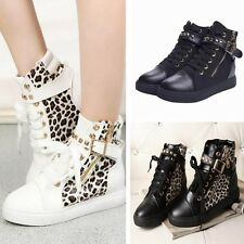Lady Fashion Sneakers Leopard Hidden Wedge Sports Lace Up Shoes Boots Trainers
