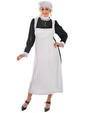 Adult Victorian Maid Costume Florence Nightingale Fancy Dress Womens Ladies New