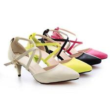 Top Women's Synthetic Leather Med Heel Pointed Toes Pumps Sandals Shoes US Size