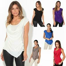 Womens Fashion Cowl Neck Low Cut Stretch Jersey Top Going Out Shirt Size 4-16