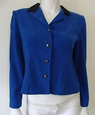 MISS DORBY Petite Career Short Jacket Blue Black Collar 4 Button Front Size 8P