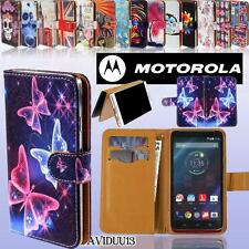 Folio Flip Wallet Card Stand PU Leather Case Cover For Various Motorola Phones