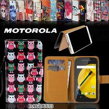 Folio Flip Wallet Card Stand Magnetic PU Leather Case Cover For Motorola Phones