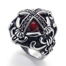 Vintage Mens Ruby Red CZs Cross 316L Stainless Steel Noble Ring SZ 8 to 13