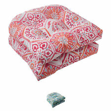 Pillow Perfect Summer Breeze Polyester Tufted Wicker Outdoor Seat Cushions (Set