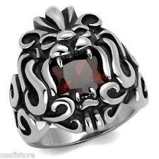 Red Garnet CZ Stone Lion Silver Stainless Steel Mens Ring