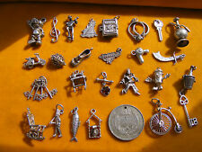 DD VINTAGE STERLING SILVER CHARM SCOOTER BOOT CLEFT CLOWN FISH BIKE 18 SABRE