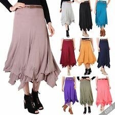 Womens Stretch Jersey Belted Waist Hitched Up Gypsy Hippie Boho Long Maxi Skirt