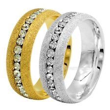 Women Silver Gold Crystal Gem 316L Stainless Steel Wedding Engagement Band Ring