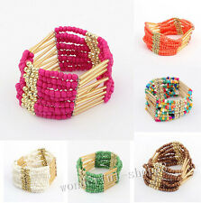 New Women Bohemian stretch Beaded Bangle Bracelet Multilayer Jewelry Finding
