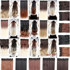 Deluxe Real natural 3/4 Full Head Clip In Hair Extensions Brown Blonde Black d21