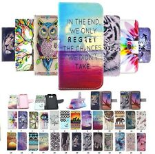 Fashion Painted PU Leather Wallet Flip Card Holder Case Cover For Samsung Phones
