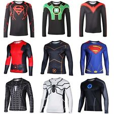 Men Superhero Top Tee Costume Long Sleeve T-Shirts Jersey Cycling Shirt