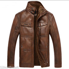 winter mens warm Genuine Leather fur lining jacket coat outwear trench padded