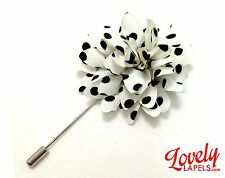 Men's Flower Lapel Pin, OFF WHITE & BLACK DOTS Handmade Floral Silk Boutonniere