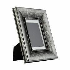 Verandah Table-top 4x6 Vintage Aged Silver Standing Picture Frame, Mat