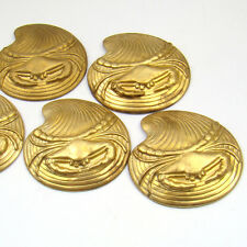 5 vintage brass stampings crab on the half shell bright thick brass 36mm
