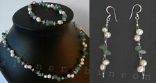 Pearl and Jade necklace bracelet and earrings set/ part set collar de jade