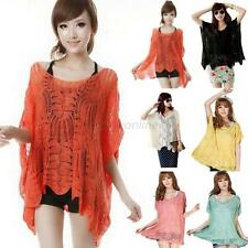 Women's Loose Batwing Sleeve Hollow Crochet Knit Tops Blouse Oversized Pullover