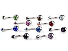*** REDUCED FROM £1.99 *** CHOICE OF 10 COLOURS BELLY BAR NAVEL PIERCING JEWEL