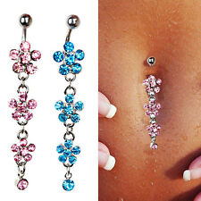 Surgical Steel Triple Flower Crystal Gem Dangly Navel Belly Button Ring Bar 316L