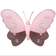 Butterfly Decoration Brown Pink Bedroom Baby Nursery Hanging Nylon Ceiling Wall