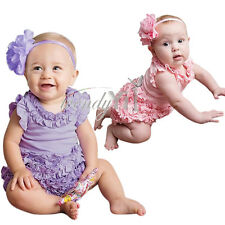 2Pc Newborn Baby Girl Romper Bodysuit Headband Party Dress up Outfit Clothes Set