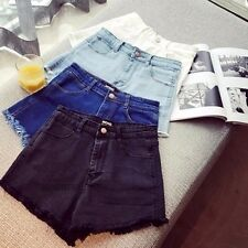 Women/Lady Frayed Denim Hot Pants Tassel Jean Shorts High Waist Retro Blue/Black