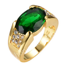 Wedding Ring Size 8-12 CZ Green Emerald CZ Man/Women's 10Kt Yellow Gold Filled
