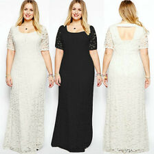 Maxi Womens Halter Lace Long Dress Cocktail Party Short Sleeve Plus Size Dress