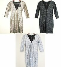 NEW GUESS BLACK+SILVER,GOLD GARNET SEQUIN FANCY MINI DRESS+ZIPPER