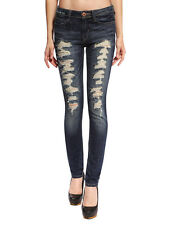 Womens Ripped Skinny Jeans Ladies Cut Out Destroyed Denim Pencil Pants Trouser