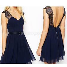 Sexy Women's Casual Sleeveless Backless Cocktail Evening Party Lace Mini Dress