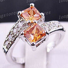 Ring Size 6/7/8/9 Champagne Topaz Crystal CZ Women's White Gold Filled Wedding