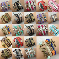 New Women Multiple Pictorial Bangle Style Multicolour Multilayer Leather Braclet