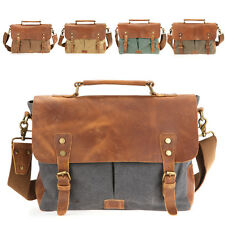 "Vintage Leather Mens Messenger Bags Canvas 14"" Laptop Briefcase Shoulder Bags"