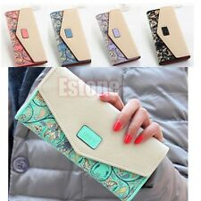 Women Faux Leather Floral Envelope Purse long Zip Handbag Wallet Clutch Card Bag