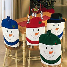 Christmas Chair Back Cover Snowman Red Hat Decoration Dinner Table Party Gifts