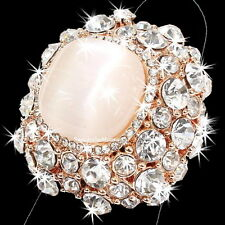 HUGE PINK Cats Eye Crystal HALO Pave Set Cz Cocktail Statement Ring Rose Gold gp